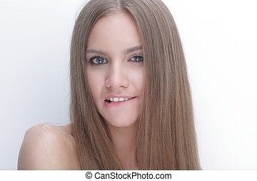 portrait of a young woman with long hair