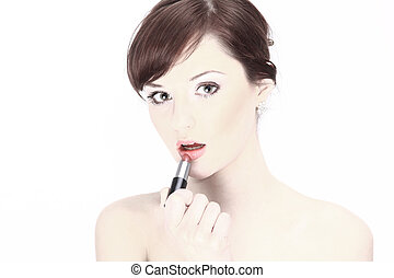 Portrait of a young woman with makeup isolated on white
