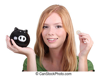portrait of a young woman with money box
