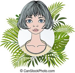 Portrait of a young woman with short hair in floral round frame. Colorful flat vector ilustration. Isolated on white background.