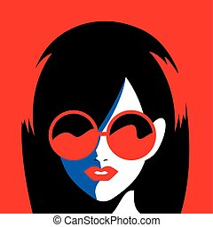portrait of abstract young woman with sunglasses