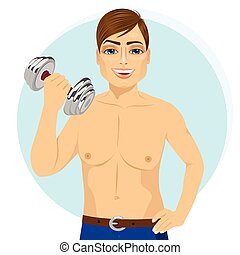 active handsome young man practicing fitness exercise with dumbbell