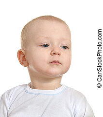 adorable baby boy on white background