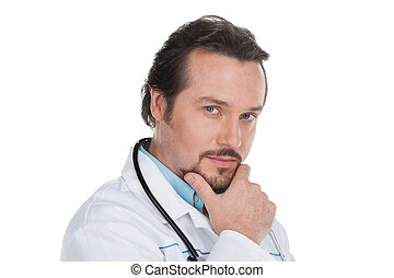Portrait of adult doctor. Isolated on white, looking at camera, having smart and confident look.