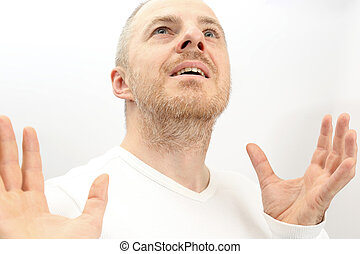 portrait of adult happy man on a white background