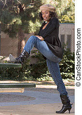 girl in jeans and boots