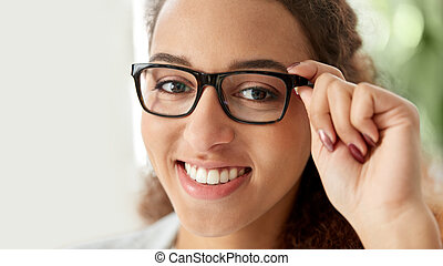 portrait of african american woman in glasses
