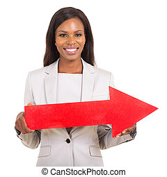african american woman with red direction arrow