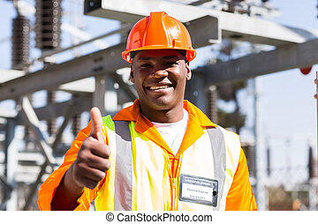african electrician with thumb up - portrait of african ...