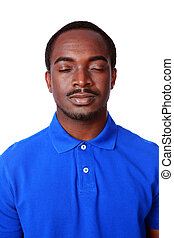 Portrait of african man with eyes closed isolated on white background