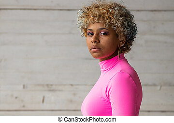 portrait of afro american woman outdoors