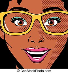 portrait of afro woman with glasses, pop art style