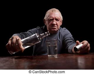 portrait of alcoholic senior man - portrait senior man...