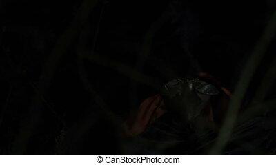 Portrait of alight vampire face scaring in grass at night