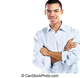 Portrait of American African business man smiling with arms crossed over white background