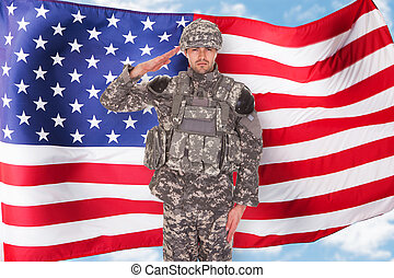 American Soldier - Portrait Of American Soldier Saluting In...