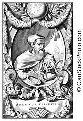 Portrait of Amerigo Vespucci, vintage print