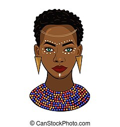 Portrait of an African princess Isolated on a white background. Vector graphics