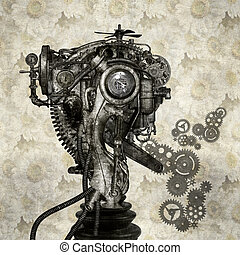 Portrait of an antique cyborg - Portrait of an old cyborg