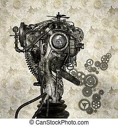 Portrait of an antique cyborg - Portrait of an old cyborg