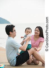 Portrait of an asian family on beach