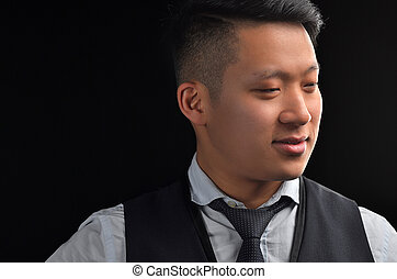 Portrait of an Asian young man in a shirt