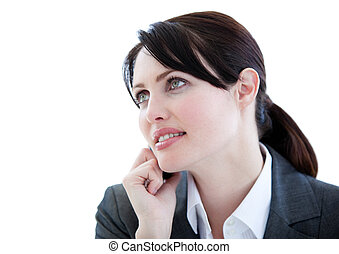 Portrait of an assertive businesswoman talking on phone