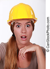 Portrait of an astonished tradeswoman
