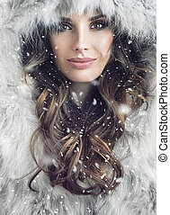 Portrait of an attractive brunette woman