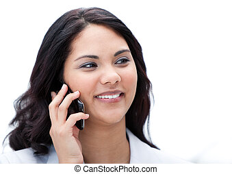 Portrait of an attractive businesswoman talking on phone