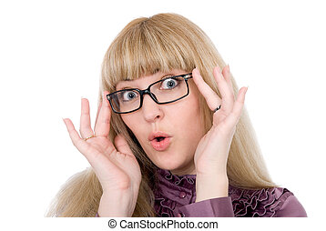 Portrait of an attractive Caucasian emotional business woman in glasses, on white background