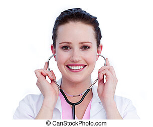Portrait of an attractive female doctor holding a stethoscope