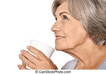 middle-aged woman with cup