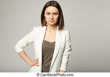 feb6ffa043cde Stylish young brunette . Portrait of a beautiful stylish young ...