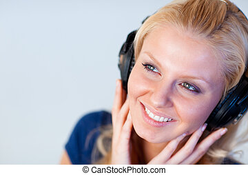 Portrait of an attractive woman with headphones