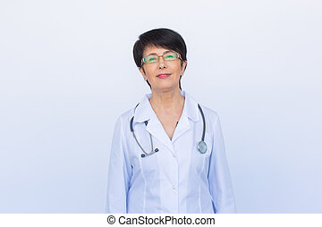 Portrait of an attractive young female doctor over white background
