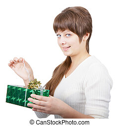 attractive young woman with a gift on a white background