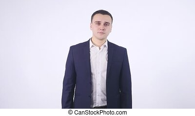 Portrait of an business man in a poset. Isolated on white background.