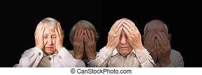 Portrait of an elderly man and woman with face closed by hands