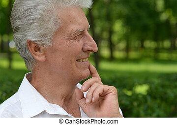 elderly man on a walk