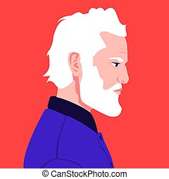 Portrait of an elderly man with a white beard in profile