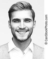 Portrait of an elegant handsome man smiling - Close up...