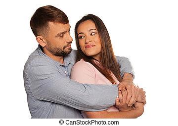 Portrait of an embracing romantic couple