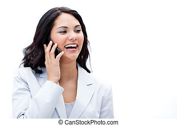 Portrait of an enthusiastic businesswoman talking on phone