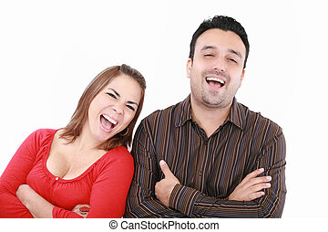 Portrait of an excited young couple on white background