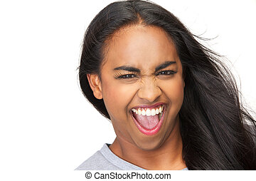 Portrait of an excited young woman with mouth open