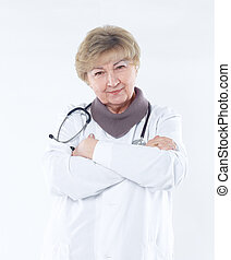 portrait of an experienced physician. isolated on white background