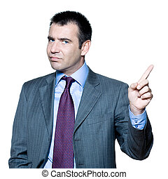 Portrait of an expressive angry businessman pointing finger...