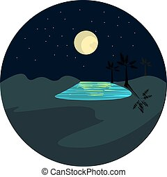 Portrait of an oasis at night over dark background vector or color illustration