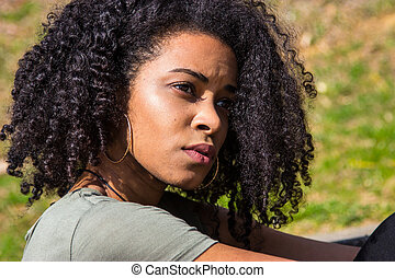 Portrait of an pensive African American woman